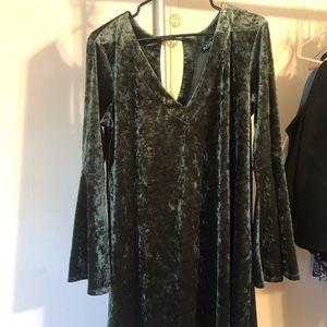 dark green crushed velvet dress